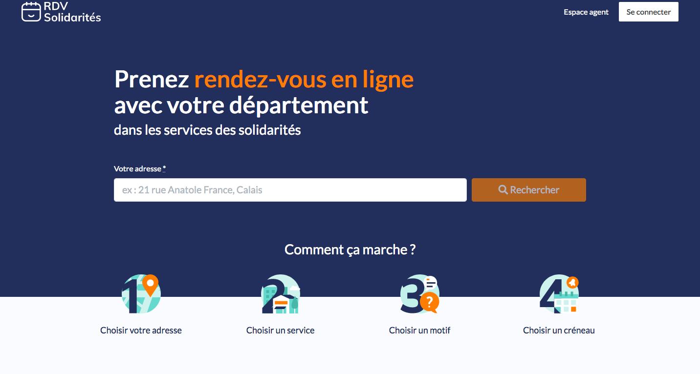 Page d'accueil de RDV Solidarité